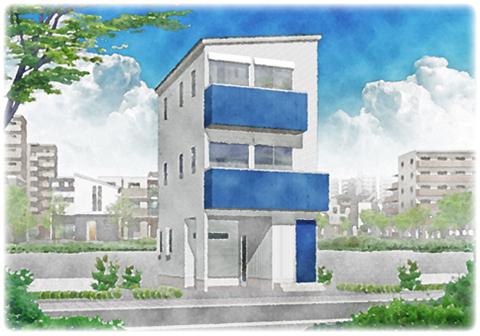 都市型3階建て住宅サンプルプラン
